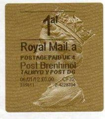 2012 1af ( A 4)(£0.00) POST BRENHINOL GOLD HORIZON (TYPE 2a)