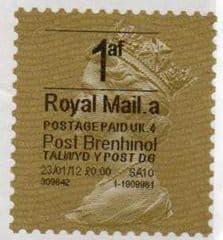 2012 1af (A 4) (£0.00)'POST BRENHINOL' GOLD PERF