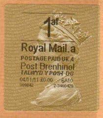 2012 '1af'(A 4)(£0.00) POST BRENHINOL TYPE II WITH NEW CODES