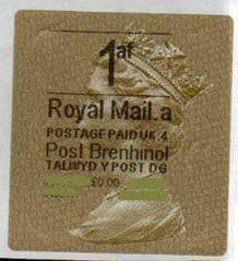2012 '1af' (A 4)(£0.00) WALSALL WELSH GOLD TYPE 3 LABEL