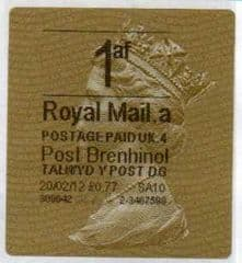 2012 1AF (A 4) (£0.77) 'POST BRENHINOL GOLD HORIZON TYPE 2a'