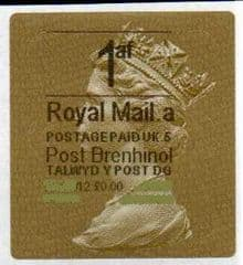 2012 '1af' (A 5)(£0.00) WALSALL WELSH GOLD TYPE 3 *RARE CODE 5*