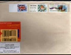 2012 1ST 'ROBIN' (MA12), (BLANK) 'SHEEP' + (BLANK) UNION FLAG' ON COVER