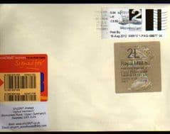2012 '2L'(E 4) WELSH TYPE 3 HORIZON +2ND 'FAST STAMP ( CARMS) LABEL ON COVER