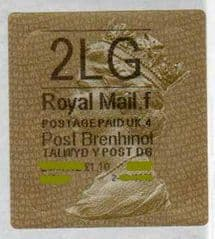 2012 '2LG' (F 4) WALSALL WELSH GOLD TYPE 3 LABEL