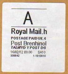 2012 'A' (H 4 ) (£0.00) POST BRENHINOL (LATE USE) **RARE**