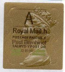 2012 'A' (H 4)(£0.00) WALSALL WELSH GOLD TYPE 3 LABEL