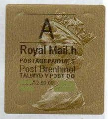 2012 'A' (H 5)(£0.00) WALSALL WELSH GOLD TYPE 3 LABEL