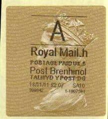 2012 'A' ( H 5)POST BRENHINOL TYPE II+CODES (RARE CODE)