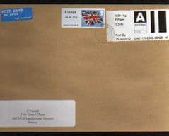 2012 'A' (P.PAPER RATE) POST & GO (CARDIFF)+ EUROPE (UNION FLAG) ON COVER