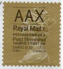 2012 'AAX' (R 5) POST BRENHINOL (LATE USE) *RARE*