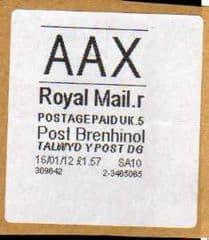 2012 'AAX' (R 5) POST BRENHINOL *RARE*