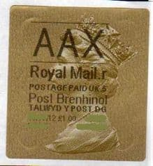 2012 'AAX' (R 5) WALSALL WELSH GOLD TYPE 3 LABEL