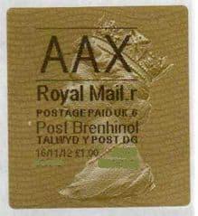 2012 AAX ( R 6) 'POST BRENHINOL' TYPE 2a