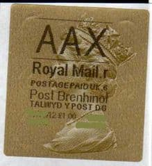 2012 'AAX' (R 6) WALSALL WELSH GOLD TYPE 3 LABEL