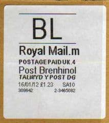 2012 'BL' ( M 4) 'POST BRENHINOL' WHITE LABELS -LATE USE