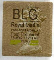 2012 'BLG' (N 4) WALSALL WELSH GOLD TYPE 3 LABEL