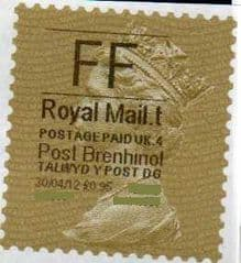 2012 'FF'(£0.95) 'POST BRENHINOL' GOLD PERF TYPE I