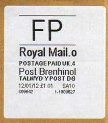 2012 FP ( o 4) 'POST BRENHINOL' WITH CODES ( LATE USE)