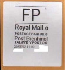 2012 FP ( o 6) 'POST BRENHINOL' WHITE LABEL *RARE LATE USE*