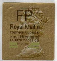 2012 'FP' (O 6) WALSALL WELSH GOLD TYPE 3 LABEL