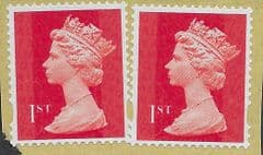 2012 PAIR OF 1ST (S/A) 'ROYAL MAIL RED ' (MTIL M13L) MACHIN FORGERIES ON PIECE