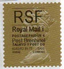 2012 'RSF'( i 4)(£0.77) 'POST BRENHINOL' GOLD PERF
