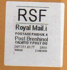 2012 RSF ( i 4)(£0.77) 'POST BRENHINOL' (LATE USE)