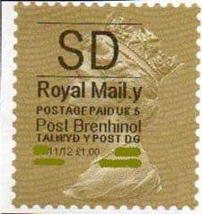 2012 'SD'( Y 5) 'POST BRENHINOL' GOLD PERF *RARE CODE 5*