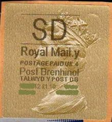 2012 'SD' (Y 4) WALSALL WELSH GOLD TYPE 3 LABEL