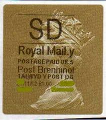 2012 'SD' (Y 5) WALSALL WELSH GOLD TYPE 3 *RARE CODE 5*