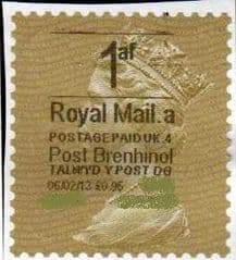 2013 1af ( £0.95)'POST BRENHINOL' GOLD PERF *RARE*(VERY LATE USE)