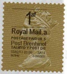 2013 '1af'( A 5)(£0.00) 'POST BRENHINOL' GOLD PERF TYPE 1 WITH CODES (RARE LATE USE)
