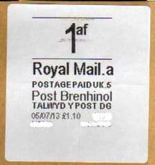 2013 1AF ( A 5) (£1.10) 'POST BRENHINOL' WHITE LABEL LATE USE