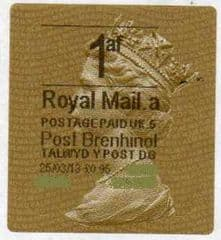 2013 1AF (A 5) (£1.10) 'POST BRENHINOL GOLD HORIZON TYPE 2a' RARE CODE 5