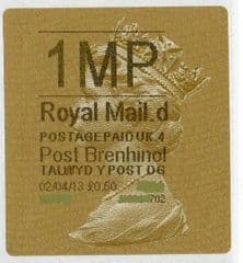 2013 '1MP' (D 4)POST BRENHINOL TYPE 2a LABEL(NEW SERVICE FROM 2ND APRIL 2013)