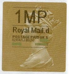 2013 '1MP' (D 5) GOLD HORIZON TYPE 2a (FIRST DAY OF ISSUE)(NEW SERVICE FROM 2ND APRIL 2013)