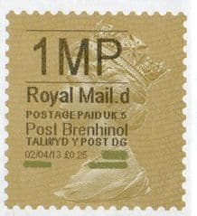 2013 '1MP'( D 5) 'POST BRENHINOL' GOLD PERF(NEW SERVICE FROM 2ND APRIL 2013)