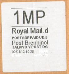 2013 '1MP'(D 5) POST BRENHINOL (NEW SERVICE FROM 2ND APRIL 2013)