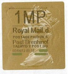2013 '1MP' (D 5)POST BRENHINOL TYPE 2a LABEL(NEW SERVICE FROM 2ND APRIL 2013)