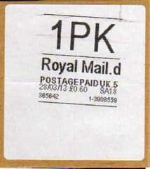 2013 1PK (D 5) ROYAL MAIL WHITE LABEL (RARE LATE USE OF CODE 5)