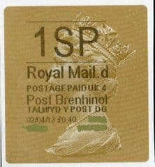2013 '1SP' (D 4)POST BRENHINOL TYPE 2a LABEL(NEW SERVICE FROM 2ND APRIL 2013)