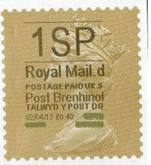 2013 '1SP'( D 5) 'POST BRENHINOL' GOLD PERF (NEW SERVICE FROM 2ND APRIL 2013)