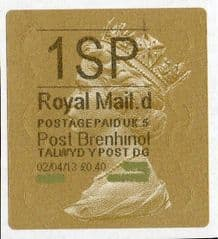 2013 '1SP' (G 5)POST BRENHINOL TYPE 2a LABEL(NEW SERVICE FROM 2ND APRIL 2013)