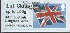 2013 1ST CLASS (UPTO 100g) 'UNION FLAG' (OVPT - 84TH SCOTTISH CONGRESS 2013)  FINE USED