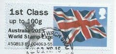 2013 1ST CLASS (UPTO 100g) 'UNION FLAG' (OVPT - AUSTRALIA 2013 WORLD STAMP EXPO)  FINE USED