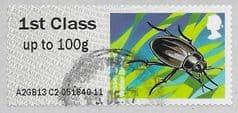 2013 1ST 'FRESHWATER LIFE -LESSER SILVER WATER BEETLE' (TYPE IIIa)  FINE USED