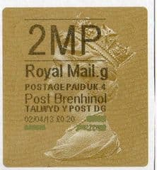 2013 '2MP' (G 4)POST BRENHINOL TYPE 2a LABEL(NEW SERVICE FROM 2ND APRIL 2013)