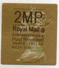 2013 '2MP' (G 5)POST BRENHINOL TYPE 2a LABEL  (NEW SERVICE FROM 2ND APRIL 2013)  RARE CODE 5