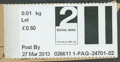 2013  '2ND CLASS LETTER FAST STAMP' LABEL *
